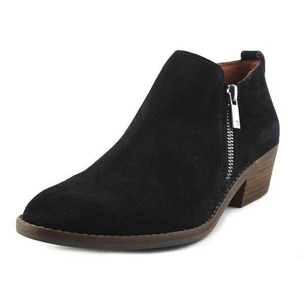 Lucky Brand Fineses Women Round Toe Suede Black Bootie