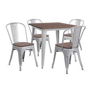 """Offex 31.5"""" Square Silver Metal Table Set with Wood Top and 4 Stack Chairs"""