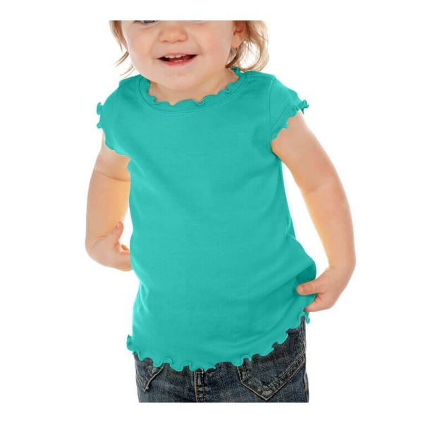 Kavio! Infants Lettuce Edge Scoop Neck Cap Sleeve Top