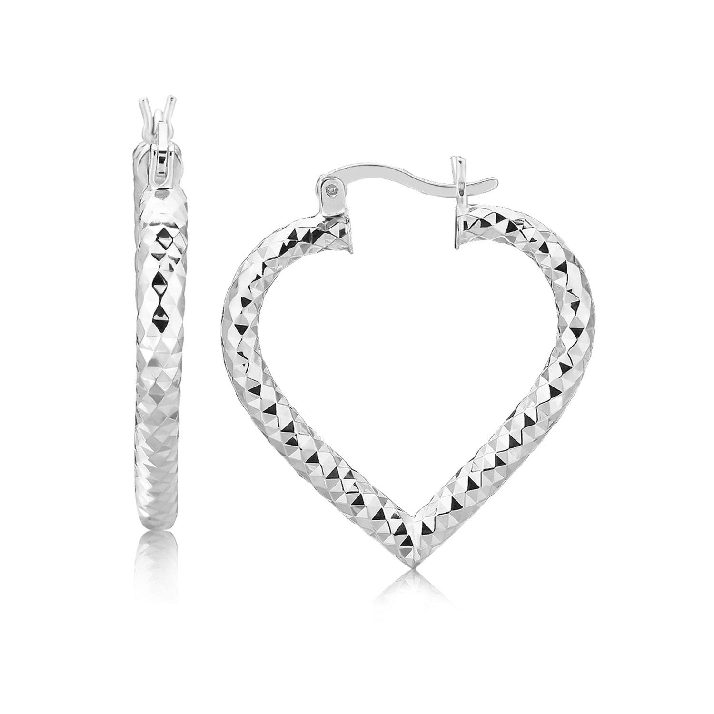 925 Sterling Silver Rhodium Plated Heart Hoop Earrings