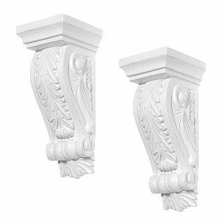 2 Fireplace Corbels Victorian Style White Urethane Set of 2
