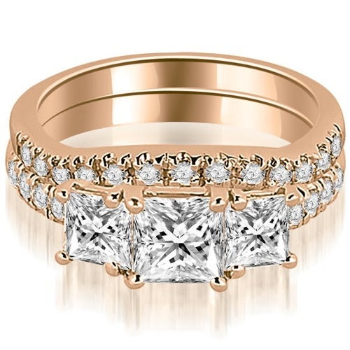 1.40 cttw. 14K Rose Gold Lucida Three-Stone Princess Cut Bridal Set