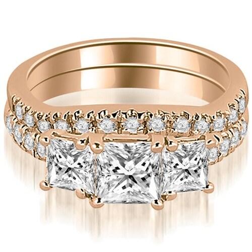 1.90 cttw. 14K Rose Gold Lucida Three-Stone Princess Cut Bridal Set