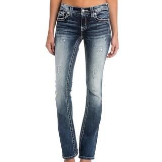 Miss Me Denim Jeans Womens Bootcut Distressed Cross Dark Wash