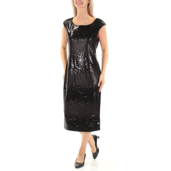 CONNECTED Womens Black Sequined Sleeveless Jewel Neck Below The Knee Party Dress Size: 6