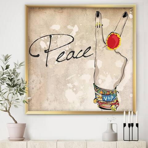Designart 'Gypsy Hippy Hand Peace' Cottage Framed Art Print
