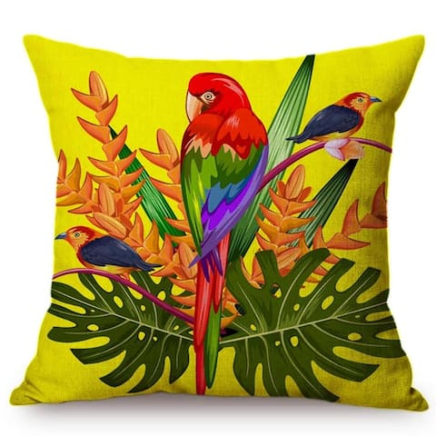 "Tropical Birds And Plant Decorative Throw Pillowcase for couch or sofa 18"" x 18"""