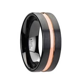 venice black ceramic wedding band with rose gold groove 8mm - Ceramic Wedding Rings