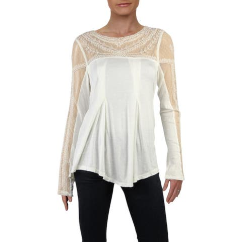 Free People Womens Jojo Pullover Top Mixed Media Embroidered - Tea Combo