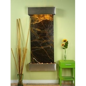 Adagio Inspiration Falls With Green Rainforest Marble in Stainless Steel Finish