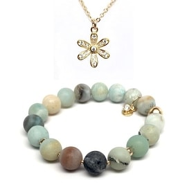 Green Amazonite Bracelet & CZ Flower Gold Charm Necklace Set