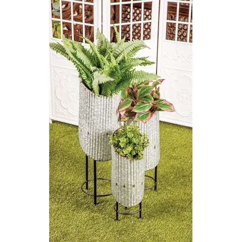 Set of 3 Modern Cylindrical Metal Plant Stands by Studio 350