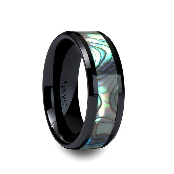 OAHU Beveled Black Ceramic Ring with Shell Inlay 8mm