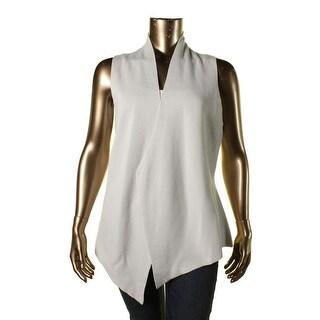 Eileen Fisher Womens Silk Asymmetric Casual Vest - XL