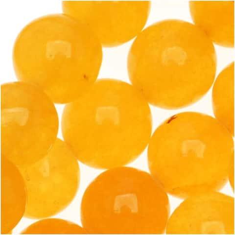 Gemstone Beads, Yellow Honey Jade, Round 8mm, 14.5 Inch Strand