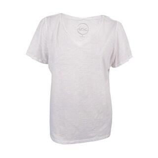 INC International Concepts Women's Petite Solid V-Neck Tee (PL, Bright White) - Bright White - pl