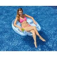 """36.5"""" Water Sports Capri Inflatable Swimming Pool Lounger Seat Float - Blue"""