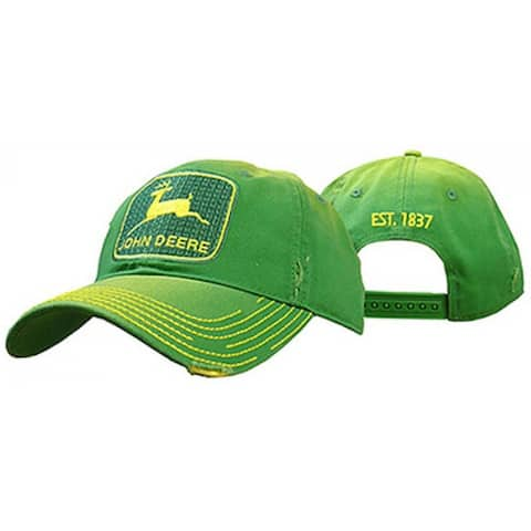 John Deere 13080295GR00 Twill 6-Panel Cap with Embroidered Vintage Logo, Green