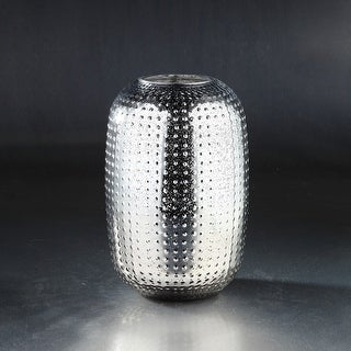 """12"""" Silver Colored Textured Metallic Bumpy Glass Oval Vase - N/A"""
