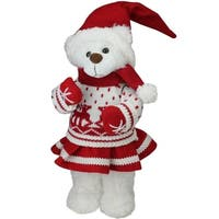 "13.5"" Girl Santa Bear in Deer Sweater Christmas Figure Decoration - WHITE"