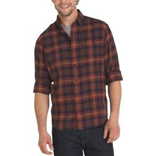 G.H. Bass & Co. Mens Button-Down Shirt Flannel Plaid