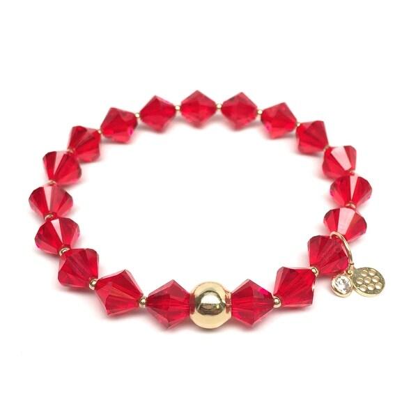 "Red Crystal Rachel 7"" Bracelet"