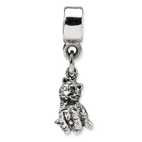 Sterling Silver Reflections Kids Cat Dangle Bead (4mm Diameter Hole)
