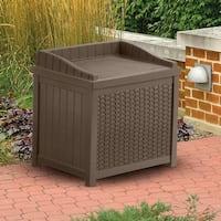 Suncast SSW1200 Resin Wicker Storage Seat, Java Color, 22-Gallon