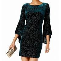 Jessica Howard Green Burnout Velvet Bell Sleeve 10 Sheath Dress