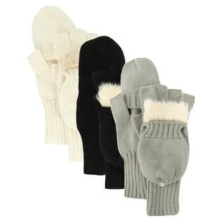 American Rag Women's Faux Fur Knit Convertible Fashion Gloves - os