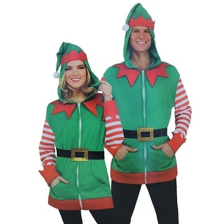 North Pole Christmas Elf Adult Costume Hoodie