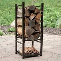 Sunnydaze Indoor Outdoor Fireside Log Rack with Tool Holders - Options Available - Bronze