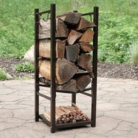 Sunnydaze Indoor-Outdoor Firewood Fireside Log Rack with Tool Holders - Bronze