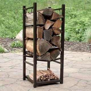 Sunnydaze Indoor-Outdoor Firewood Fireside Log Rack with Tool Holders - Bronze