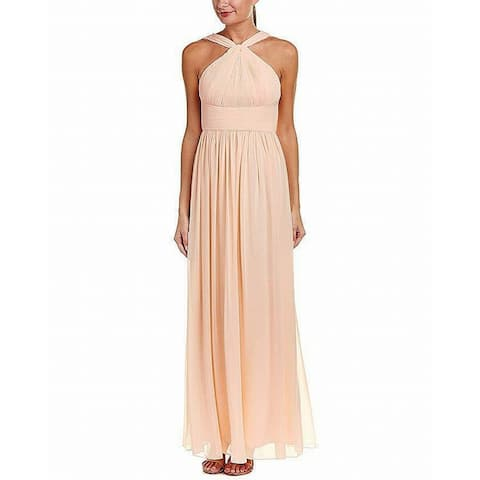 Donna Morgan Womens Apricot Orange 12 Halter Pleat Chiffon Gown Dress