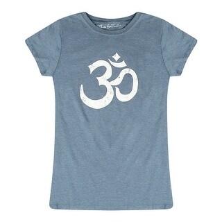Three For Twelve Om Design Graphic Chest Printed Junior's Casual Blue T-shirt
