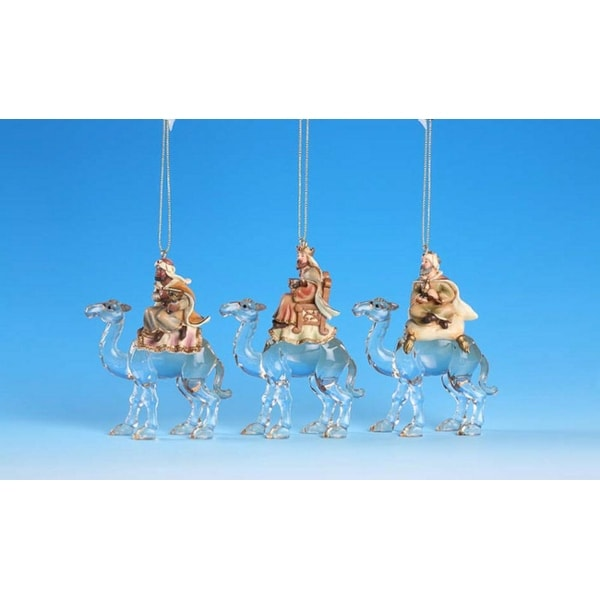 "Club Pack of 12 Icy Crystal Religious Three Kings Nativity Ornaments 4.5"" - CLEAR"