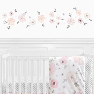 Link to Sweet Jojo Designs Pink and Grey Watercolor Floral Collection Peel and Stick Wall Decal Stickers Art Nursery Decor (Set of 4) Similar Items in Vinyl Wall Art