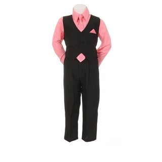 Little Boys Coral Black Pants Vest Tie Shirt Special Occasion Set 1-7