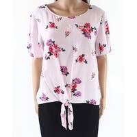 Socialite Pink Women's Size Large L Tie-Front Floral Knit Top
