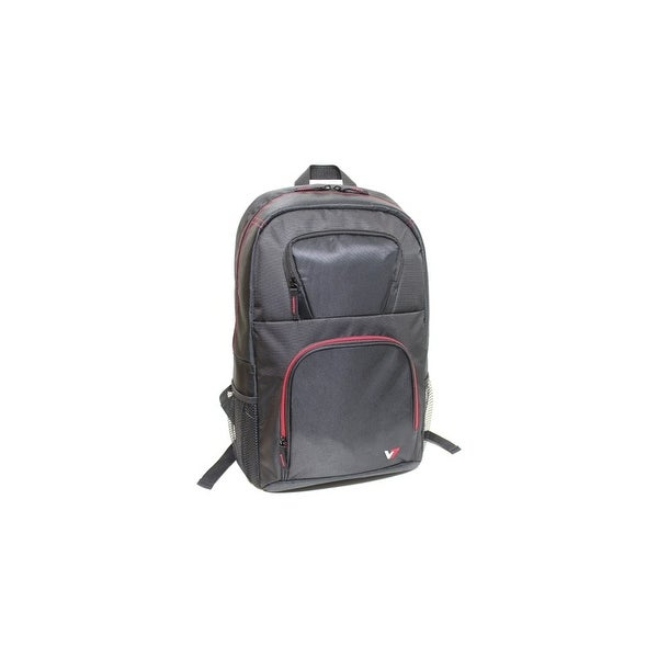 "V7 CBV21RT-9N V7 VANTAGE CBV21RT-9N Carrying Case (Backpack) for 16.1"" Notebook - Black, Red - Water Resistant - Nylon -"