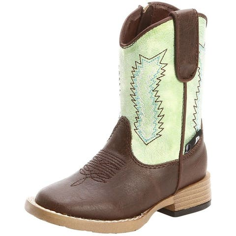 Double Barrel Western Boots Boys Wyatt Cowboy Brown Lime Green - Brown Lime