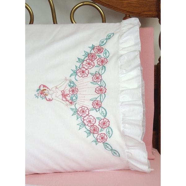 "Stamped Ruffled Edge Pillowcases 30""X20"" 2/Pkg-Flower Lady"