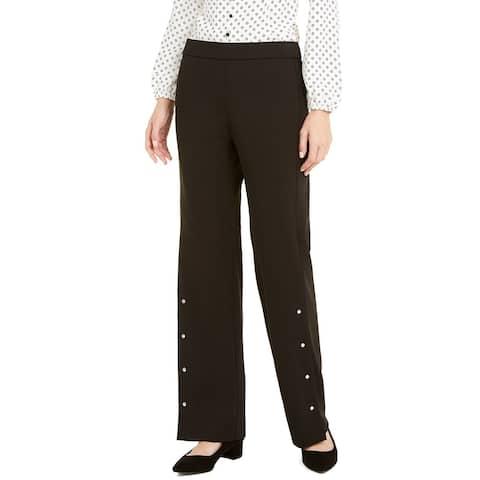 Alfani Women's Riveted Wide-Leg Pants Black Size Extra Large - X-Large