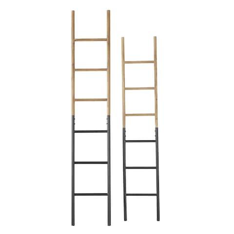 "Wood and Metal Ladder Racks Set of 2 13"" x 71"" 12"" x 61.5"" - 13 x 1 x 71"
