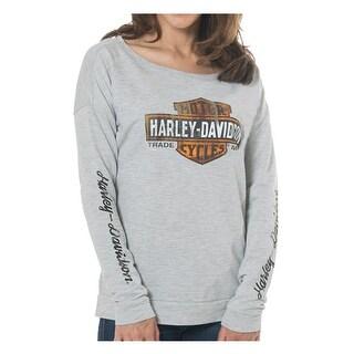 Harley-Davidson Women's Distressed Elongated B&S Long Sleeve Shirt, Heather Gray