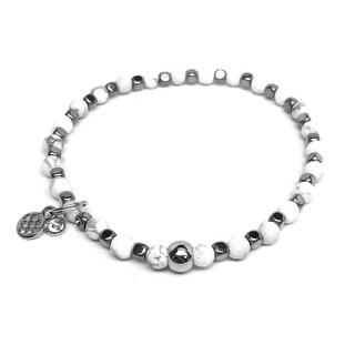 "White Sterling Silver Friendship 7"" Bracelet"