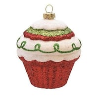 "3.5"" Merry & Bright Red  White and Green Glitter Shatterproof Cupcake Christmas Ornament"