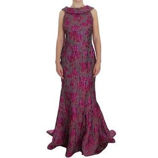 Dolce & Gabbana Dolce & Gabbana Pink Floral Brocade Sheath Gown Dress - it44-l