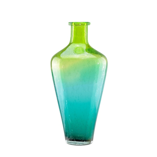 "15"" Chartreuse Green and Teal Blue Ombré Hand Blown Bubble Glass Vase"